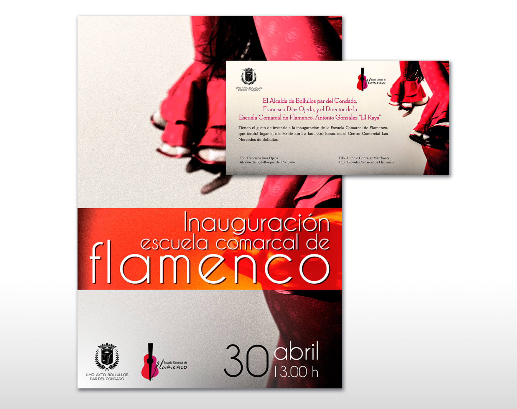 Cartel e invitación Inauguración Escuela Comarcal de Flamenco